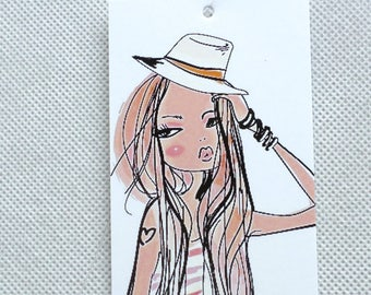 100 PRICE TAGS HANG Tags Retail Tags Boutique Tags Cute  Girl 4 Clothing Tags With 100 Plastic Loops