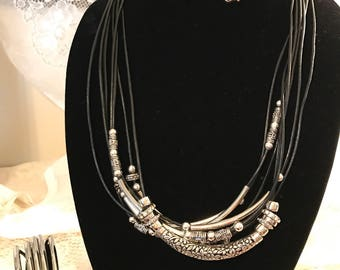 Black leather and silver Necklace  Earring and Bracelet Set