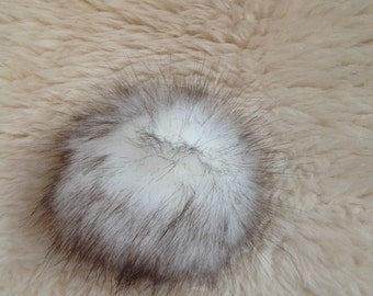 Faux Fur Pom Pom / Brown & White Fur Pom Pom / Crochet Accessories/ Knitting Accessories