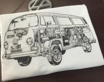 Classic Volkswagen Bay Window Bus Cutaway T-shirt.  Full front print on a 100% cotton preshrunk Tee. White shirt, black print.
