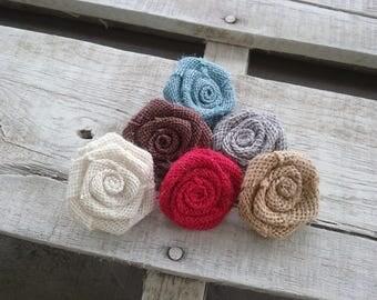 "Burlap Rosettes 1.5"" set of 25, Choice of Various Colors Burlap Rosettes, Rustic/Country Wedding Flowers, DIY Bulk Rosettes Craft Projects"