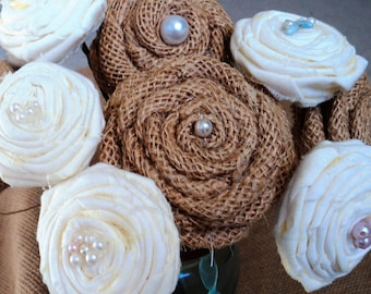 Burlap and Fabric Rosettes- set of 10, Various Sizes Rustic Rosettes, Rustic/Shabby Chic Country/Barn Wedding, Home Decor, Craft Rosettes