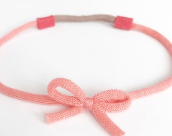 Mini knit bow wrap around baby toddler headband