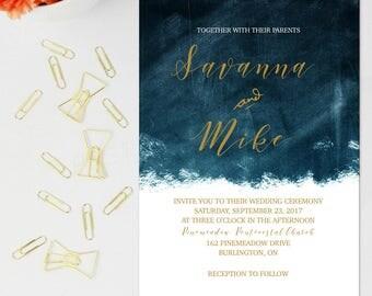 Night Skies Wedding Invitation, Custom Wedding Invitations, Calligraphy Wedding Invitations, Gold Wedding Invitations, Modern Invites