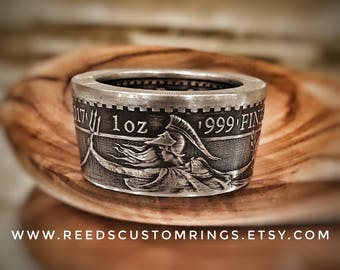 Silver Britannia 2 Pounds Coin Ring - Hand Forged Coin Ring