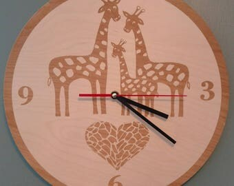 Giraffe Family Clock