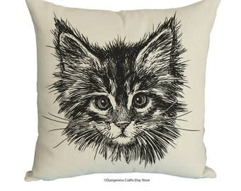 """Cat Face Drawing Cushion Cover with Cushion Insert Included- 18"""" by 18"""" -"""
