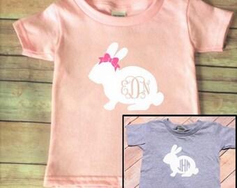 Easter Shirt - Kids Easter - Easter Bunny - Bunny Monogram - Bow Bunny - GIrls Easter - Boys Easter - Personalized Easter - Easter Monogram