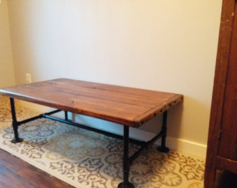 Industrial Coffee Table, Farmhouse Decor, Rustic Style Table, Cast Iron  Pipe Legs,