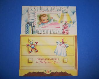 Vintage  Unused Baby Card, 1940's, 1950's, Greeting Cards, Unsigned