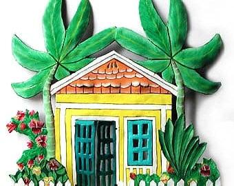 Metal Art, Painted Metal Wall Art - Tropical Design,  Metal Wall Art - Gingerbread House, Metal Wall Hanging - Tropical Decor, K-1003-YL