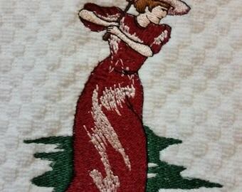 Vintage Female Golfer Embroidered Hand Towel - Vintage Female Golf Towel - Female Golf Towel - Golf Towel