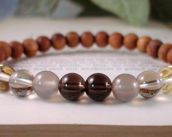 Roasted Peachwood Rose Quartz Wrist Mala, Meditation Bracelet, Grounding Tribal bracelet, yoga bracelet, Mala Beads, C 709