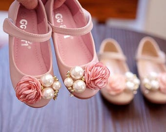 Floral Girl Shoes Custom little Girl Big Girl Shoes toddler princess shoes kids infant mary jane shoes leather flower girl shoes ivory beads