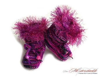 Knitted baby booties baby boots purple pink