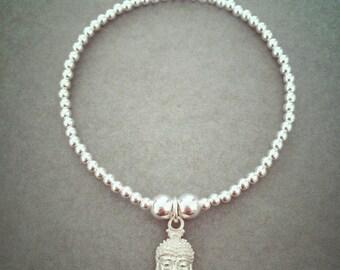 Sterling Silver Buddha Head Charm Bracelet