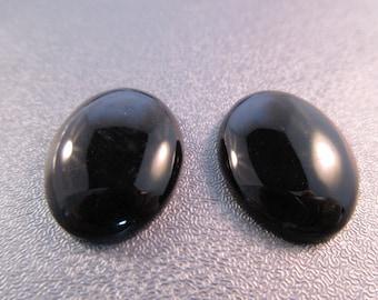 Black Onyx Cabochons 2pcs
