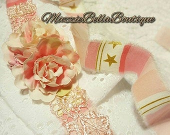 Pink n Gold Floral Halo Tieback~ Stars n Stripes~Headband~Lace~Photo Prop~Girls~Baby~Shabby Chic~Pageant~M2M BluMoonDesign~Michael Miller