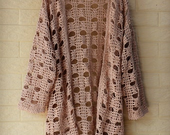 Crochet Boho Cardigan Long Sleeve Cut Out