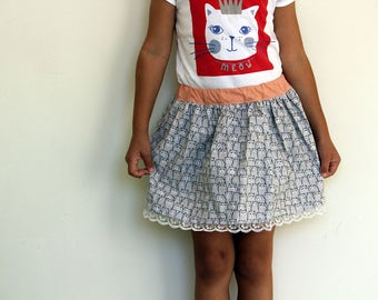 Cat crowd skirt/Velveteen skirt/Cute skirt