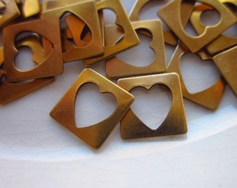 60 Vintage Brass Stampings, 8mm Square with Heart-Shaped Open Center