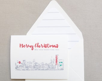 Chicago Holiday Card - Chicago Skyline - City Holiday - Chicago Cubs Holiday Card