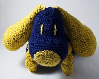 Crochet Puppy Toy - Navy / Gold (Pillow Pal)