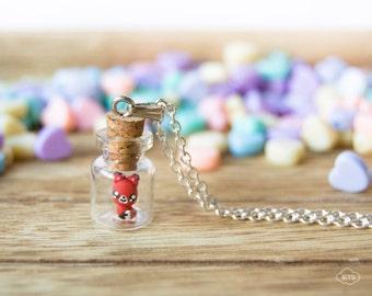 Tiny bottle necklace fox – kawaii pendant mini tiny vial cute miniature