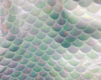 4 way stretch iridescent white mermaid fish scales foil on poly spandex fabric sold by the yard