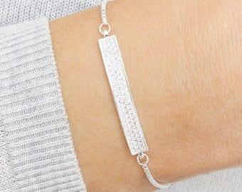 Bailee Personalised Crystal Bar Bracelet