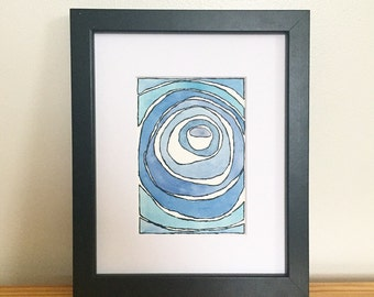 Abstract watercolor painting organic painting circular painting abstract home decor blue abstract blue circular painting modern