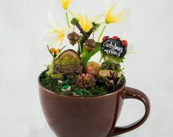 Fairy Cup Garden, Whimsical Fairy Garden, Desk Decor, Complete Fairy Garden Gift, Faerie Decor, Fairy Accessories, Cup garden, Fairy Stop,