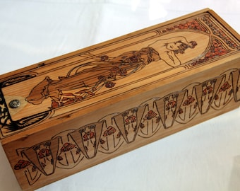 Wooden box, carved with Mucha Art Nouveau pattern, big case with sliding cover, flower, fantasy, woman, art deco