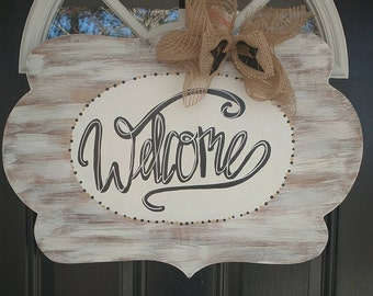 Welcome White Washed Door hanger
