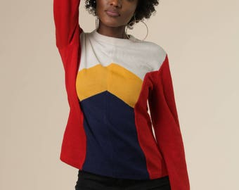 Vintage 70s Colorblocked Sweater // Bold Primary Colors // Chevron Detailed Pullover Top // Flattering Retro Jumper