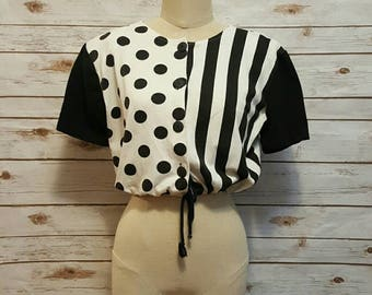 "Vintage, 1980's, Black & white oversized striped/ polka dot ""crop top""/ medium/ large"