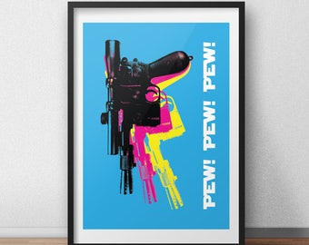 Star wars poster - Han Solo - DL-44 Blaster - funny star wars gift - geekery poster decor - sci fi art prints - star wars decoration - Geeky