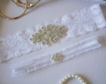 Wedding Garter Set, Keepsake and Toss Garter Set, Rhinestone and Lace Wedding Garter, Bridal Garter Set