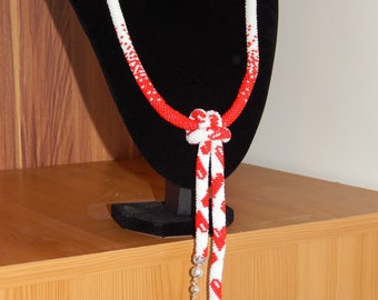 Beaded rope neclace with love heats * Valentine's day gift *
