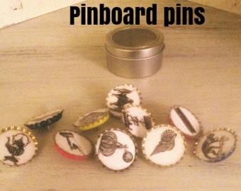Pop top cork board pins