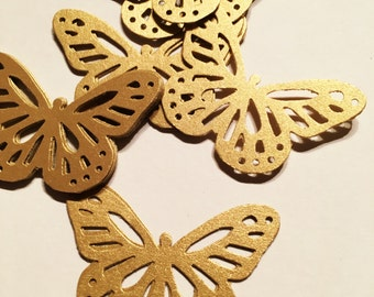 20 gold paper butterflies, paper craft, card making, pearlised double sided gold paper , wedding table , decorations