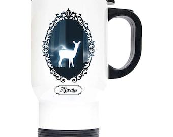 "Harry Potter Snape ""Always"" Inspired 14oz Travel Mug, White Stainless Steel Perfect Gift!"