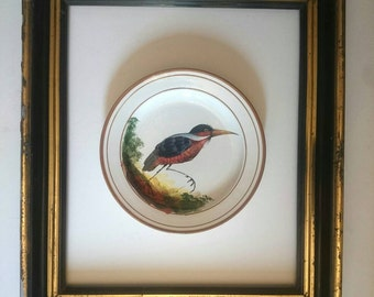 French vintage handpainted bird ceramics plate cabinet of curiosity mid-century modern signed