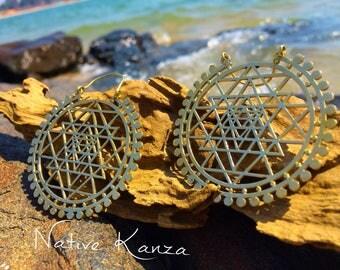 LARGE Sri Yantra Brass Hoops, Large Brass earrings, Tribal jewellery, Tribal earrings, boho earrings, Sacred geometry jewelry