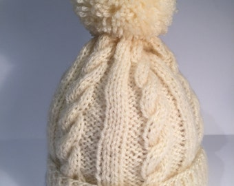 knitted cable hat.