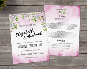Printable Watercolor Cherry Blossom Invitation. Floral Wedding Invitation Template. Pink Watercolor Flowers Wedding Invitation Template.