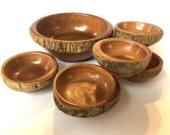 Wooden Nut Bowl Serving Set Vintage German
