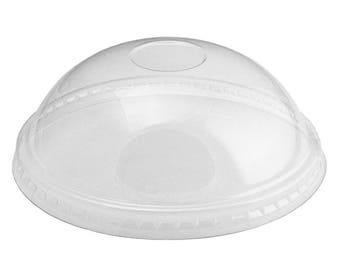 6/8 oz Ice Cream Cup Dome Lids, Clear Plastic Flat Lids Fit Our 6 oz and 8 oz Cups Perfectly, Cups Sold Separately, Fast Shipping UNIQ
