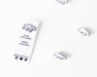 North Polar Bear Enamel Pin - Silver