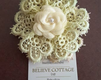 Hair clip,Flower,hand made,shabby chic accessories,vintage fabrics,vintage lace